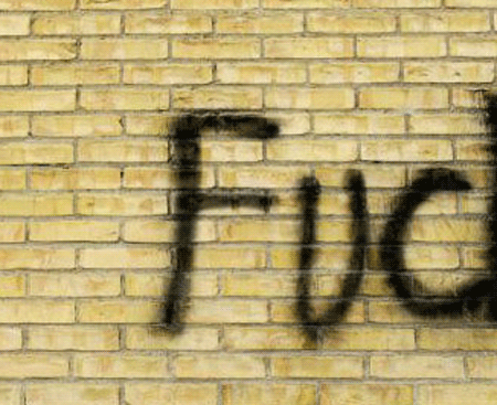 f-bomb on a wall